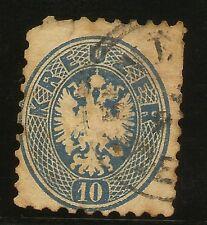 Austria   Ivert  30 (º)   10  Kreuzer  Azul  dentado 9 1/2       NL076