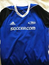 Adidas Climacool Large Soccer Jersey Three Stripe Blue and Black