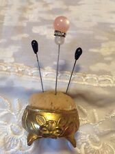 Vintage Brass Pin Cushion-Hatpin Holder W/Hatpins
