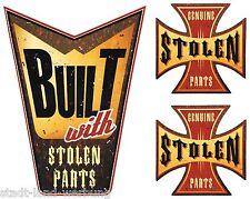 """142 Biker Adesivo Set 3st. """"Stolen Parts"""" Harley Chopper Bobber British Race"""