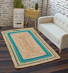 Home Decor Rug Natural Braided Jute reversible rustic look Dining area rag rugs