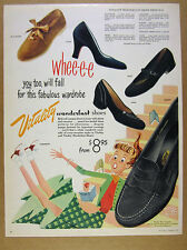 1953 Vitality Wanderlust Shoes cute schoolgirl student art vintage print Ad