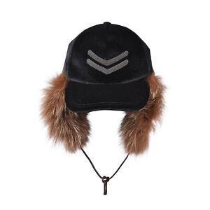 BRUNELLO CUCINELLI WOMEN'S CAP w/ EMBELLISHED MONILI BEADS & FUR LINED EAR MUFFS