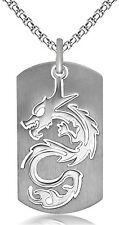 "Tag Pendant Necklace 24"" Chain Silver-Colored Hip Hop Titanium Steel Dragon Dog"