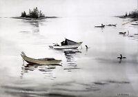Vtg Coastal Fishing Boat Scene LaVerna Signed Original Watercolor Painting 1960s