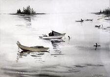 Coastal Fishing Boat Scene La Verna Signed Original Watercolor Painting 1960s