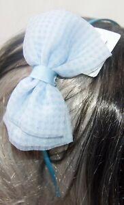 NEW Blue narrow satin aliceband with large gingham net side bow girls fashion
