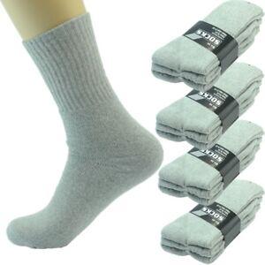 6 Pairs Men Gray Sports Athletic Work Crew Cotton Long Socks Size 9-11 10-13