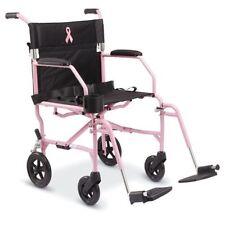 "Medline Breast Cancer Awareness Pink 19"" Freedom 3 Transport Wheelchair"