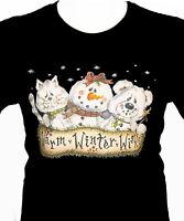 Chirstmas Wishes Shirt, Cat - Snowman & Bear Friends Shirt - Small - 5X