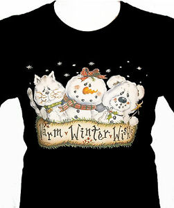 Chirstmas Wishes Shirt, Cat - Snowman & Bear Friends Shirt - Small - 5X