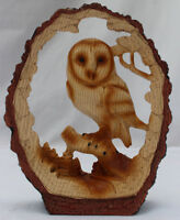 Free Standing graceful Owl on log decorative ornament
