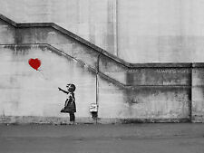 "Banksy Girl Red Balloon Pictures 12""X16"" Hope Canvas Graffiti Urban Art Prints"