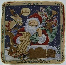 LUXURY DOUBLE SIDED TAPESTRY SANTA CHRISTMAS CUSHION COVER XMAS GOLD ROPE EDGING