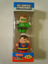 Fisher Price Little People DC Super Friends Green Lantern And Superman Figures
