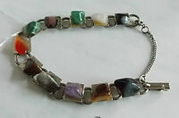 Vintage Agate Red Carnelian Quartz Tiger' Eye Pebbles Silver Links Bracelet