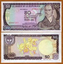 Colombia, 50 Pesos Oro, 1985, P-425 (425a), UNC > Orchids