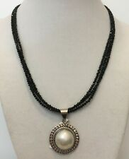 Thai Black Spinel, Mabe Pearl (15mm) and Sterling Silver Necklace with Pendant