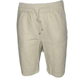 Pantaloni corti shorts pantaloncini uomo di puro lino beige con elastico e couli