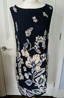 KAREN SCOTT A line dress Size M fit and flare cotton flax blend blue floral