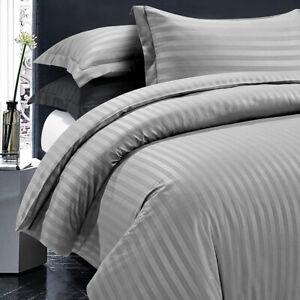 Satin Stripe Duvet Quilt Cover Bedding Set Single Double King Size + Pillowcases