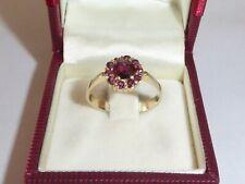 Damen Granat Ring 585 Gelbgold Goldring 14K Gold Verlobungsring 60 - 19 mm  2016