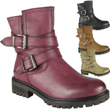 New Womens Ladies Mid Calf Ankle Boots Biker Buckle Zip Winter Casual Shoes Size