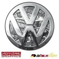 Volkswagen VW T5 & T6 Transporter Van B&W Stickerbomb - REAR Badge Inserts.