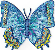 BUTTERFLY Blue & Gold Sequin Large Iron On Embroidered Patch Butterflies