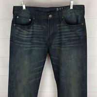 Bullhead Dillon mens 34 x 32 blue dark wash skinny mid rise denim jeans EUC