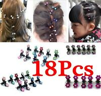 18PCS Baby Girl lady Crystal Flower Mini Hair Claw Clamp Hair Clip Hair Pin Hot