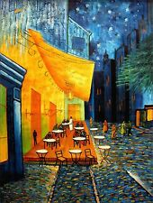 Stretched Van Gogh Cafe Terrace at Night Repro Hand Painted Oil Painting 36x48in