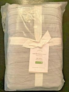 NEW Pottery Barn Camille Duvet Cover Cotton Voile FULL/QUEEN Gray Layered Ruffle