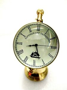 "Vintage Style 2.5"" Brass Globe Table Watch Shine Finish"