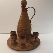 Rare Vintage Wooden/Copper Hand Made Decanter, Tray & 5 Cups, Bulgarian 1950's