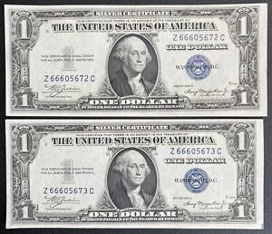 1935-A Silver Certificate $1 Blue Seal Dollar Bill Consecutive- Lot Of 2 (C145)