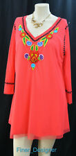 Tunique Women's Top mesh Tunic Coral stretch long blouse embroidered boho L NEW