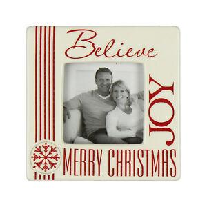 Merry Christmas 2 inch x 2 inch Ceramic Photo Frame - Believe, Joy