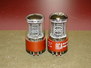 Pair, RCA Radiotron 5692 Radio/Audio Driver Tubes, Red Base, Strong
