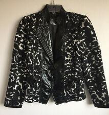 NWT $252 Simon Chang Black White Leopard Print Jacket Blazer w Faux Leather 6