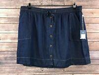 Universal Thread Women's Blue Button Denim Circle Mini Skirt Size XXL NEW