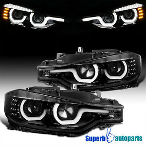 For 2012-2015 BMW F30 3-Series Polished Black LED U-Rings Projector Headlights