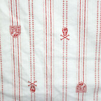 Ralph Lauren University Landon White Red Stripe Twin Pirate Sheet Skull & Bones