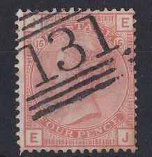 GB725) Great Britain 1876 Queen Victoria 4d Vermilion plate 15, lettered