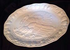 Large Embossed Ceramic Turkey Platter White Thanksgiving