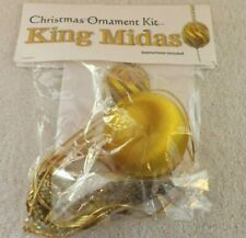 "Christmas Ornament Kit ""King Midas"" Beaded, Sequined 3"" Gold Satin Ball"
