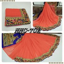 New Designer Sari Georgette Peackok print Beutiful Border Saree Printed Blouse