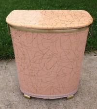 Vintage Mid Century Laundry Hamper Pink Boomerang Pattern Metal Handles