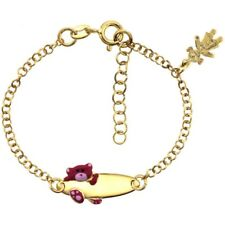 Sterling Silver Rolo Baby ID Bracelet, Yellow Gold Finish w/Bear & Girl Charm