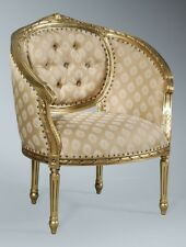 Mahogany Gold Leaf French Gilt Ornate Rococo Boudior Arm Chair Throne Tub Chair